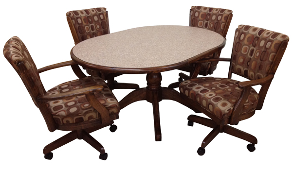 Glass Mushroom Base With Classic Caster Chairs Round Table 169900 42x42roundTable ClassicCasterChairs