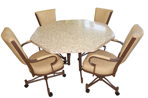 845 Dinette Tan Set Caster Chairs