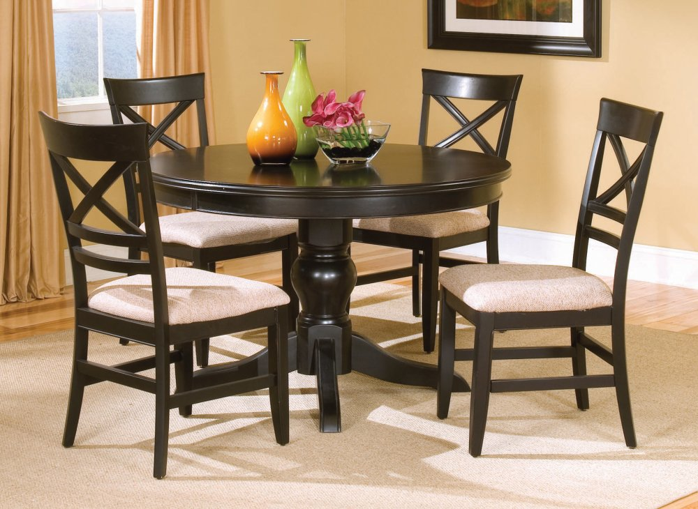 Black Dining Table Set Casual Features Chairs With A