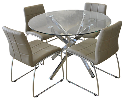 Chrome Dinette Chairs modern dinettes: round glass tables, wood & metal dinette sets