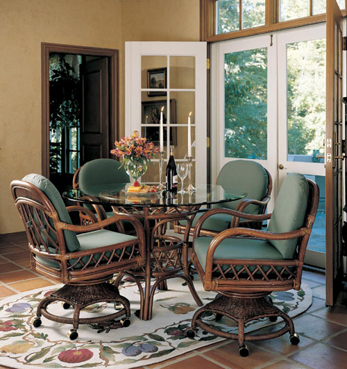 Rattan Kitchen Table: Rattan Dinette, Rattan, Tables, Wicker Tables & Chairs