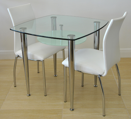 Small Dinette Sets Bistro Set: Wood & Glass Tables With