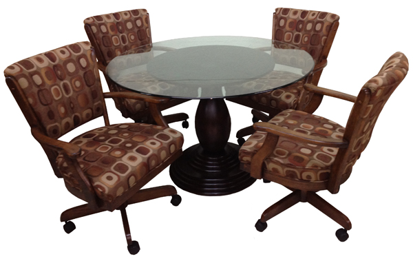 RoundGlassTableMushroom Base ClassicCasterChairs Glass Mushroom With Classic Caster Chairs Round Table