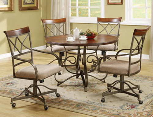 Chromocraft dining room caster chairs chair pads cushions - Chromcraft dining room furniture ...